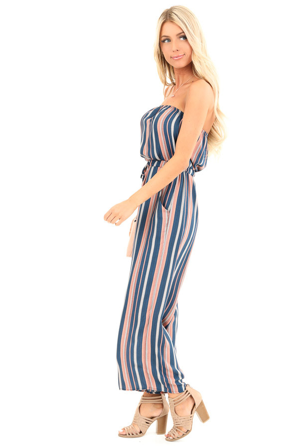 Navy and Salmon Striped Strapless Tube Jumpsuit with Pockets side full body