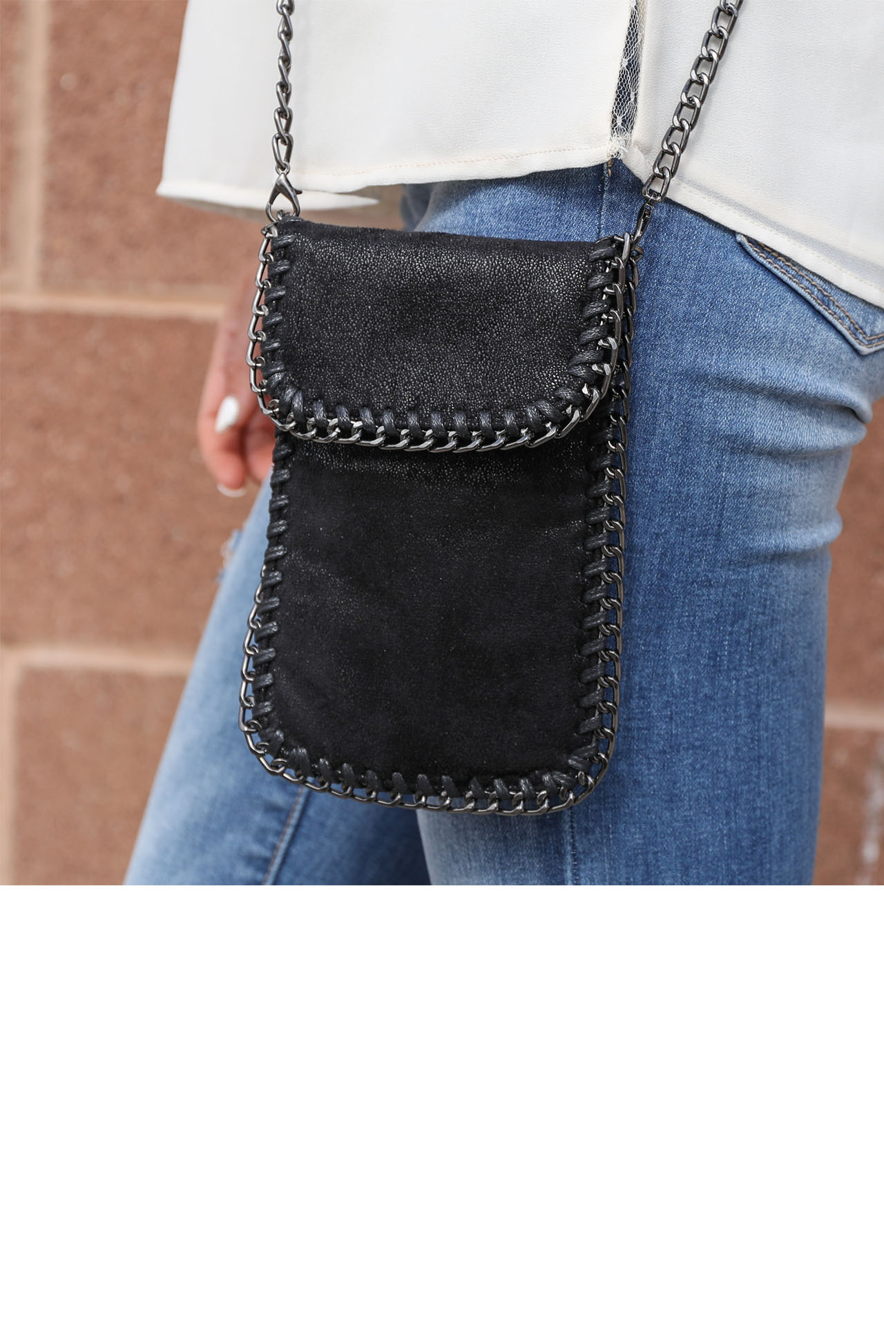 Black Metallic Small Cross Body Bag with Silver Chain Detail