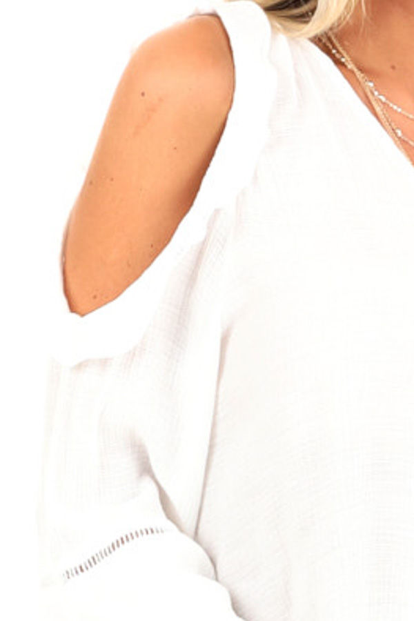 Snowy White Cold Shoulder Surplice Top with Ruffle Details detail