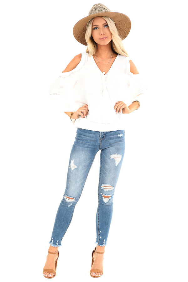 Snowy White Cold Shoulder Surplice Top with Ruffle Details front full body