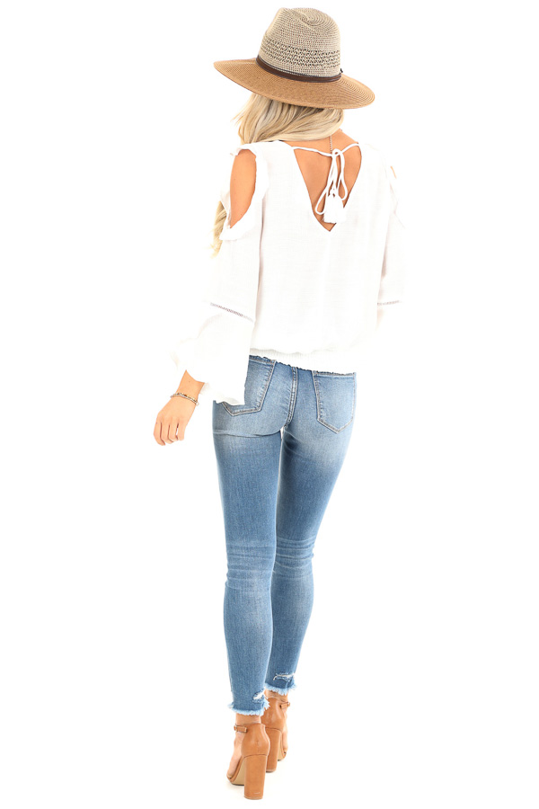 Snowy White Cold Shoulder Surplice Top with Ruffle Details back full body