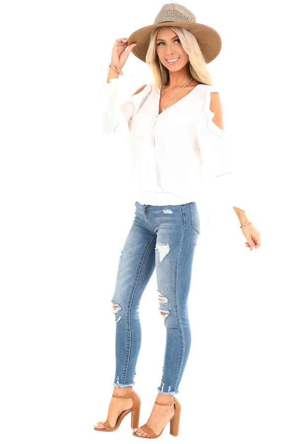 Snowy White Cold Shoulder Surplice Top with Ruffle Details side full body