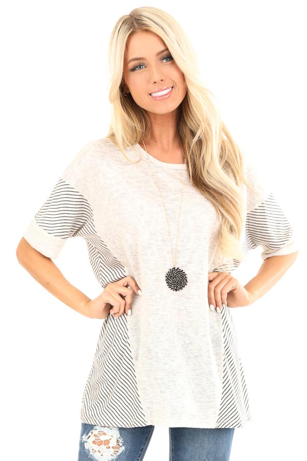Oatmeal Short Sleeve Loose Fit Top with Stripe Contrast front close up