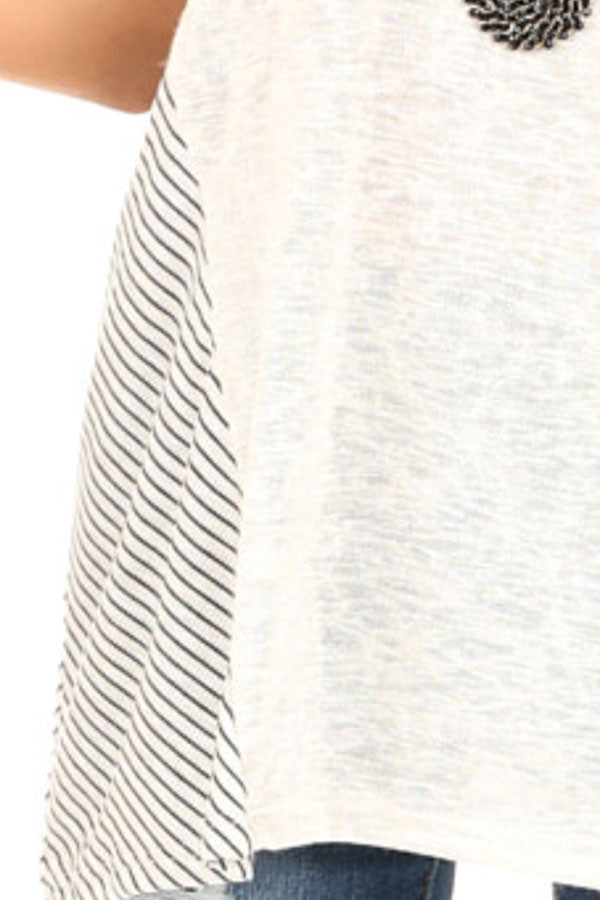 Oatmeal Short Sleeve Loose Fit Top with Stripe Contrast detail