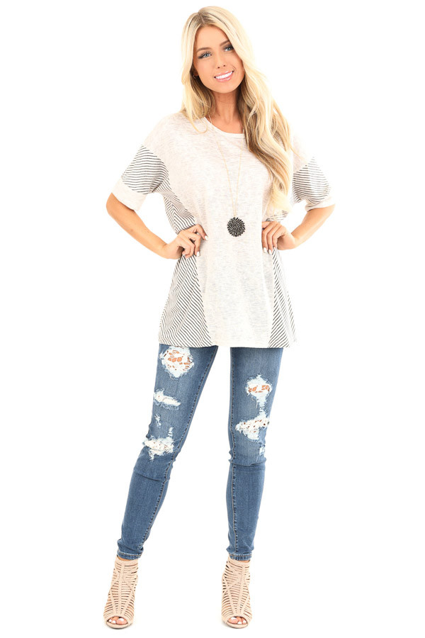Oatmeal Short Sleeve Loose Fit Top with Stripe Contrast front full body