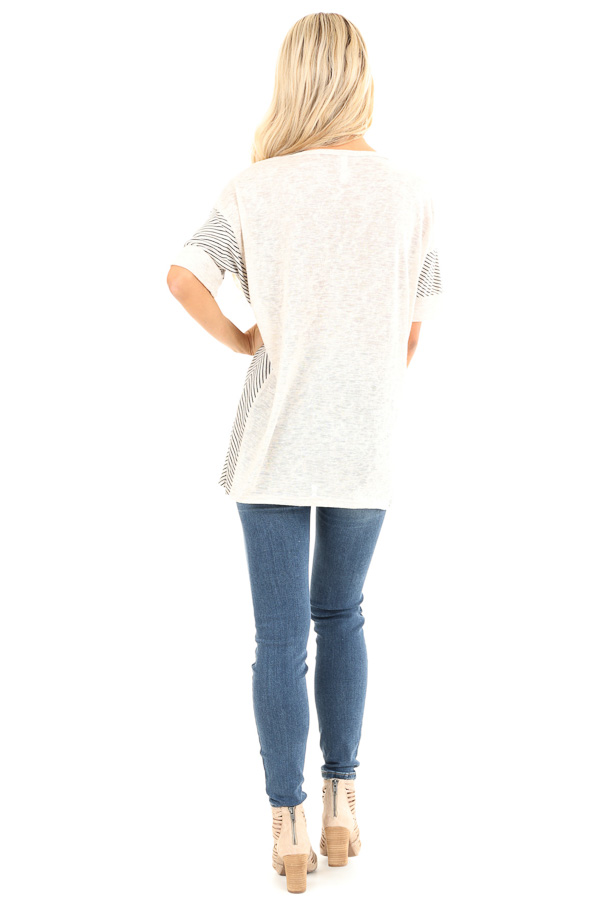 Oatmeal Short Sleeve Loose Fit Top with Stripe Contrast back full body