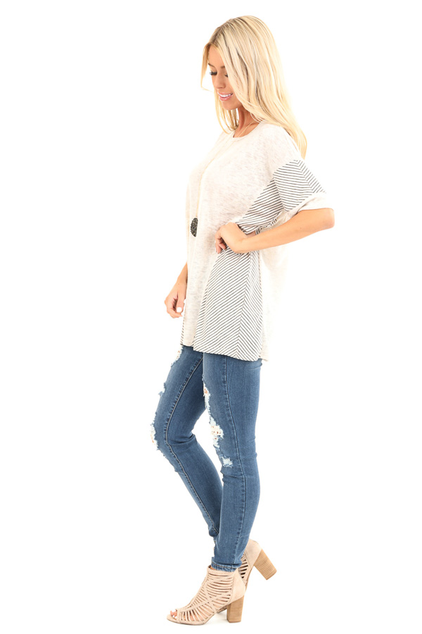 Oatmeal Short Sleeve Loose Fit Top with Stripe Contrast side full body
