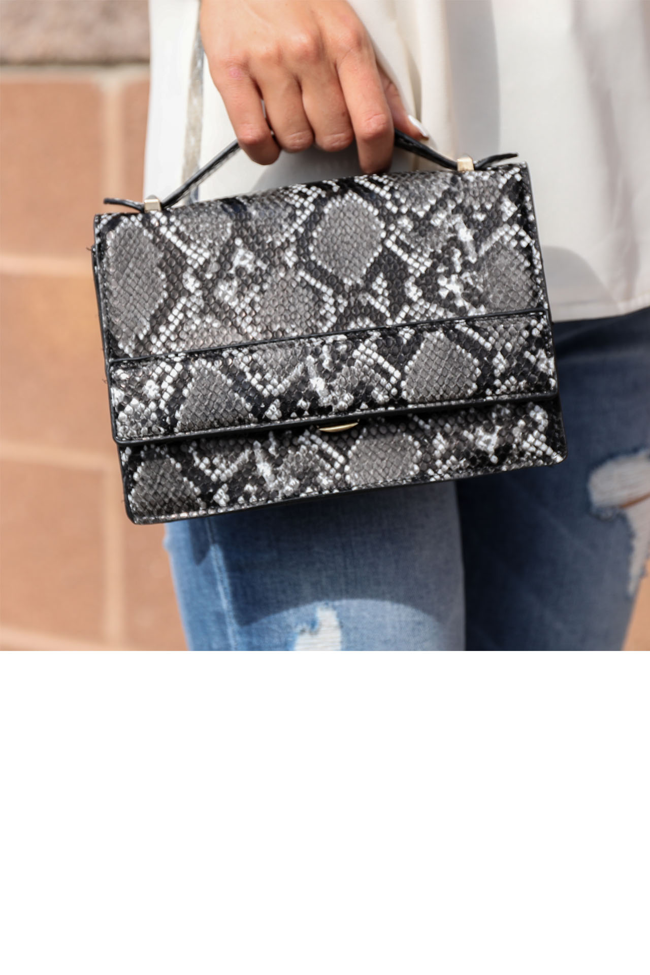 Charcoal Faux Snake Skin Clutch with Detachable Chain Strap