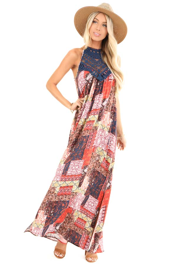 Tangerine and Navy Multi Print Halter Top Maxi Dress front full body