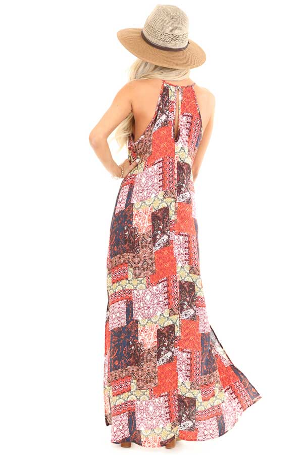 Tangerine and Navy Multi Print Halter Top Maxi Dress back full body