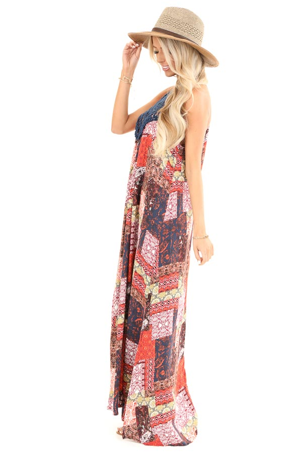 Tangerine and Navy Multi Print Halter Top Maxi Dress side full body