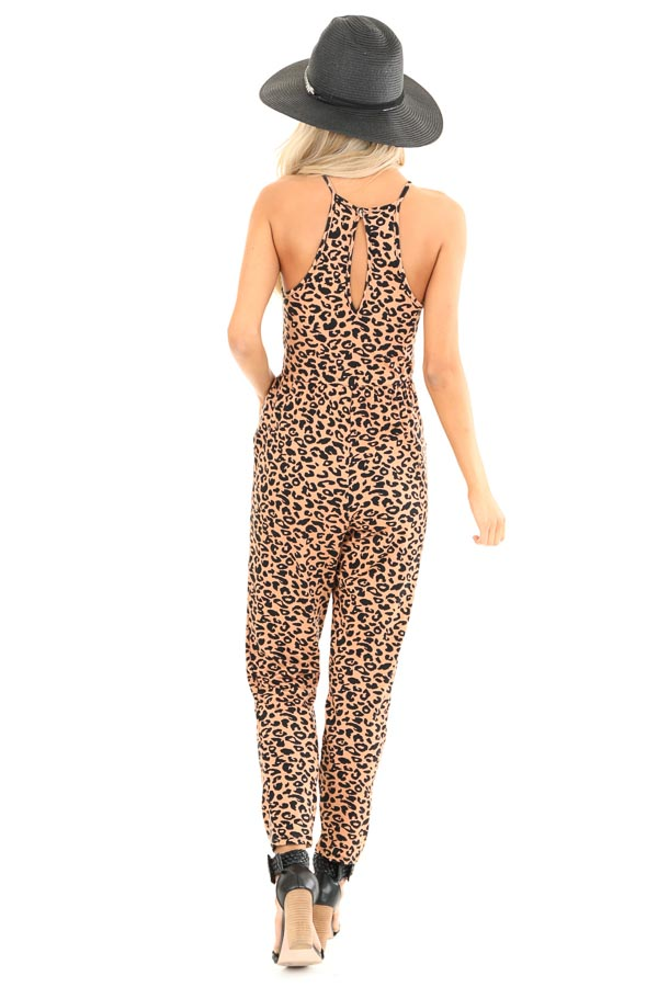 Caramel Leopard Print Spaghetti Strap Jumpsuit with Pockets back full body