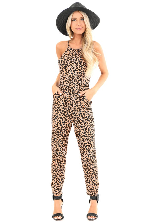 Caramel Leopard Print Spaghetti Strap Jumpsuit with Pockets front full body