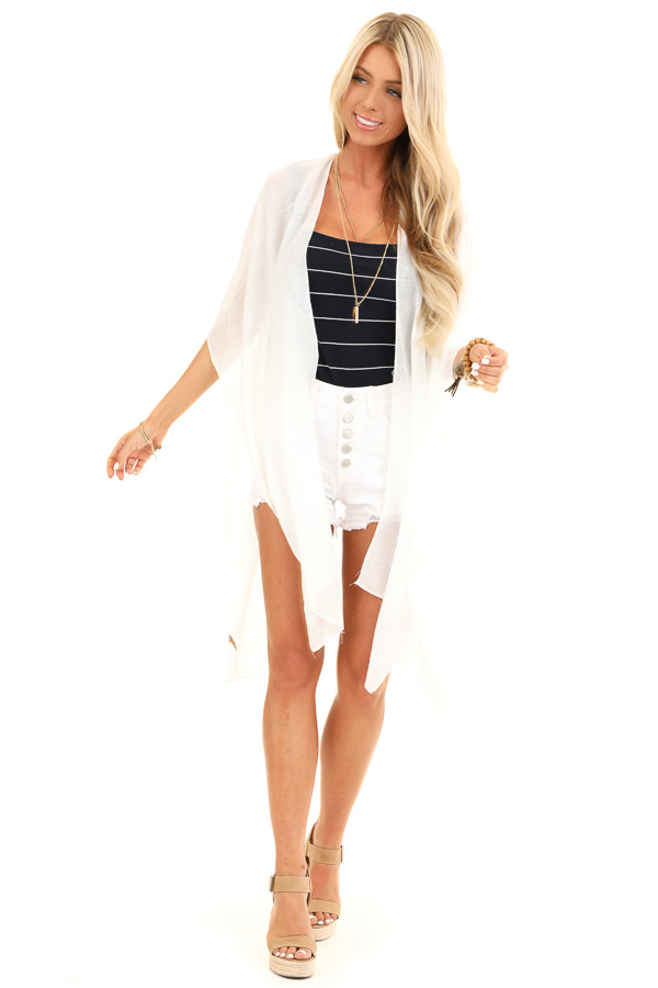 Coconut White 'Mermaid Off Duty' Loose Weave Kimono front full body