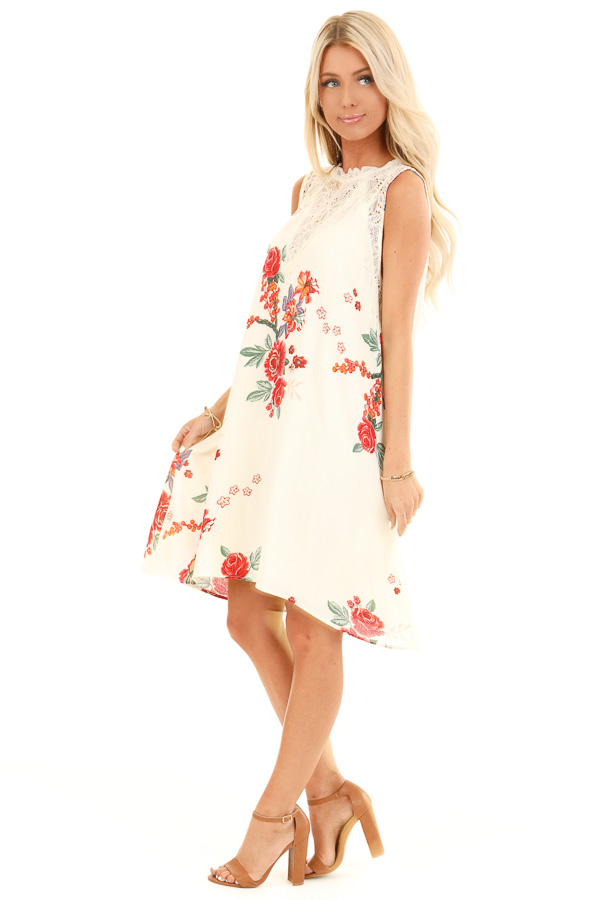 Cream Floral Print Swing Dress with Sheer Lace Details side full body