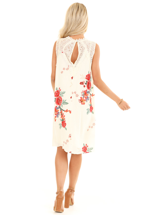Cream Floral Print Swing Dress with Sheer Lace Details back full body