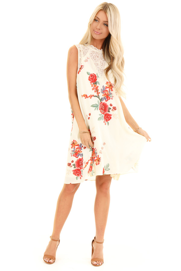 Cream Floral Print Swing Dress with Sheer Lace Details front full body