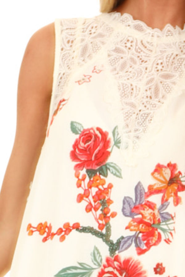 Cream Floral Print Swing Dress with Sheer Lace Details detail