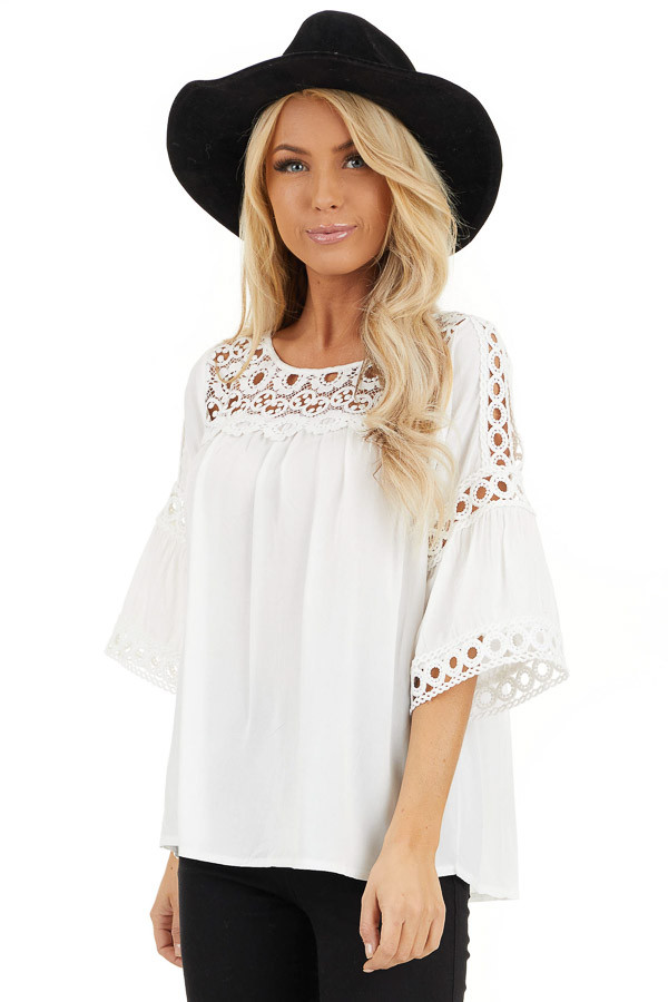 Off White 3/4 Sleeve Blouse with Sheer Crochet Details front close up