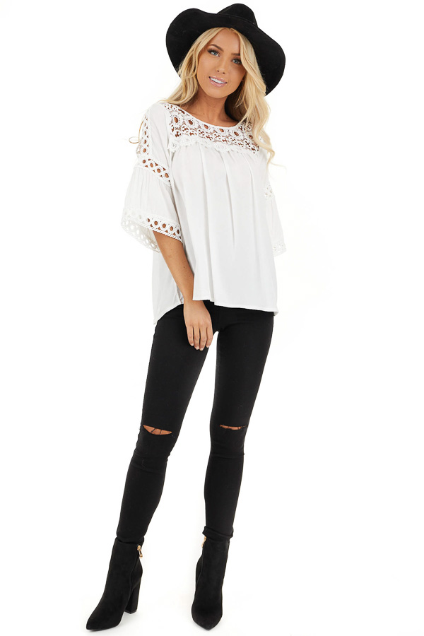 Off White 3/4 Sleeve Blouse with Sheer Crochet Details front full body