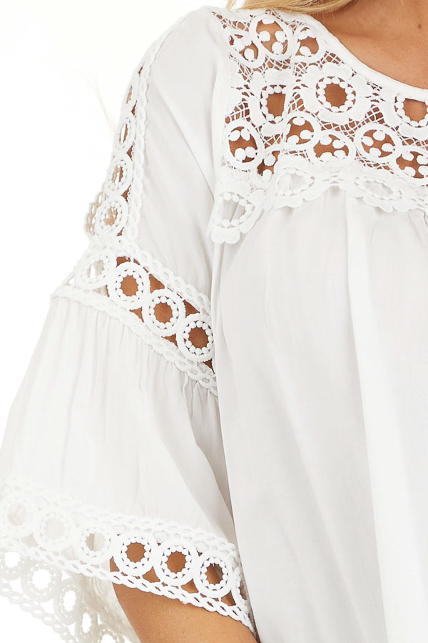 Off White 3/4 Sleeve Blouse with Sheer Crochet Details