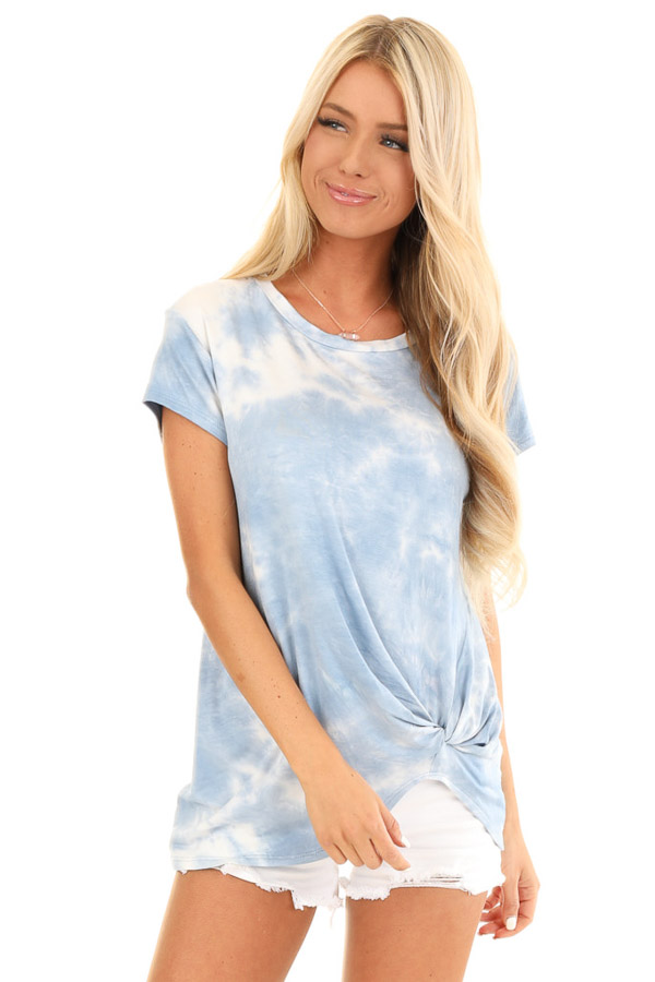 Blue Skies Tie Dye Short Sleeve Top with Front Twist front close up