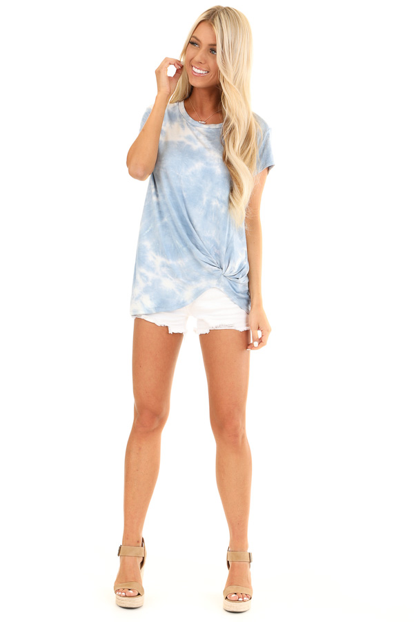 Blue Skies Tie Dye Short Sleeve Top with Front Twist front full body