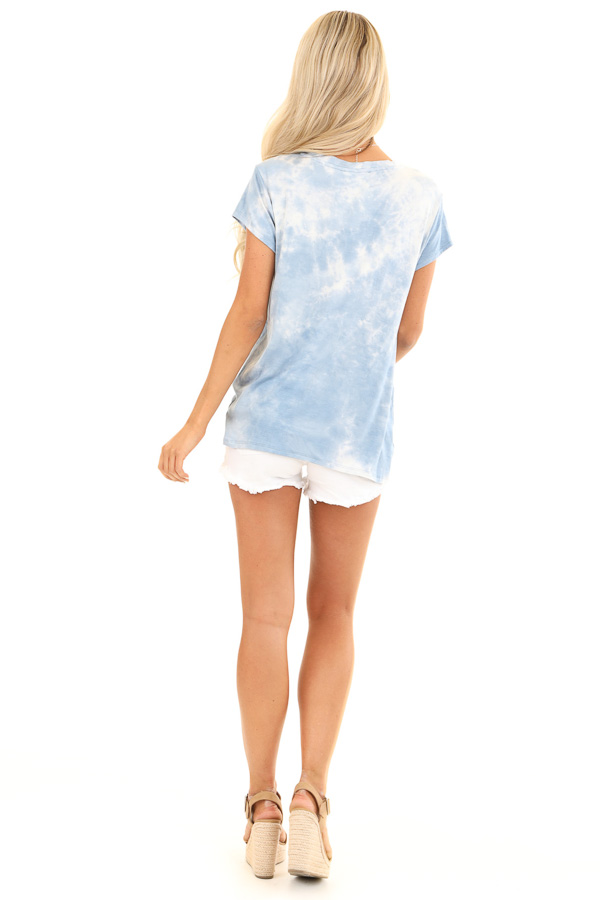 Blue Skies Tie Dye Short Sleeve Top with Front Twist back full body