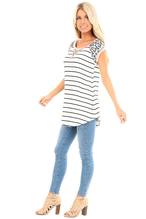 5606798b0790c8 Ivory Striped Baseball Tee with Coral Leopard Print Details side full body