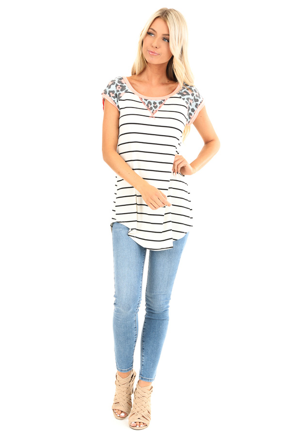 Ivory Striped Baseball Tee with Coral Leopard Print Details front full body