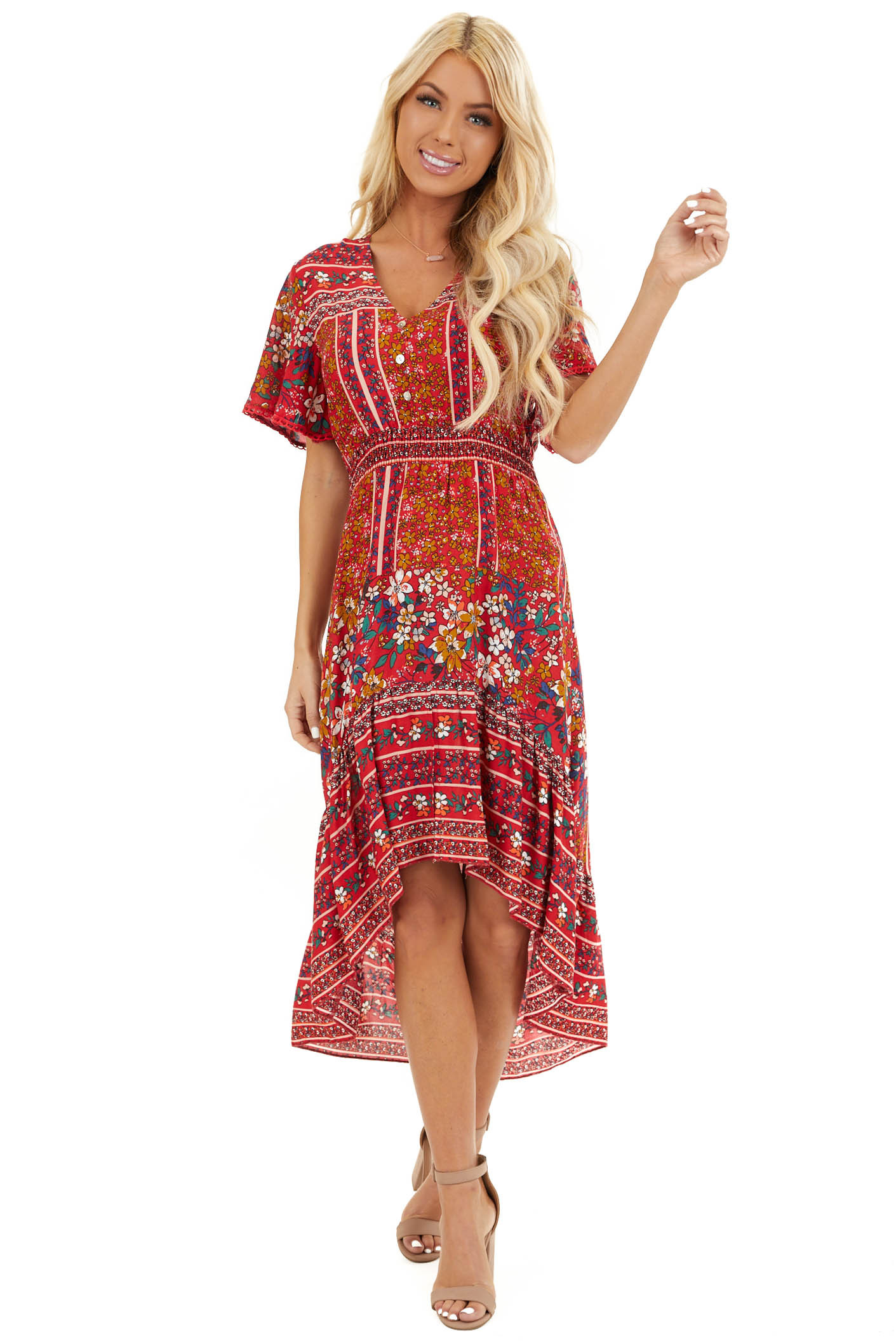 Ruby Red Floral High Low Midi Dress with Button Details front full body