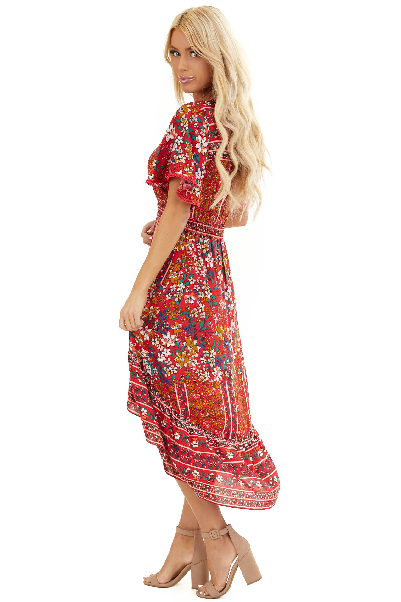 Ruby Red Floral High Low Midi Dress with Button Details side full body