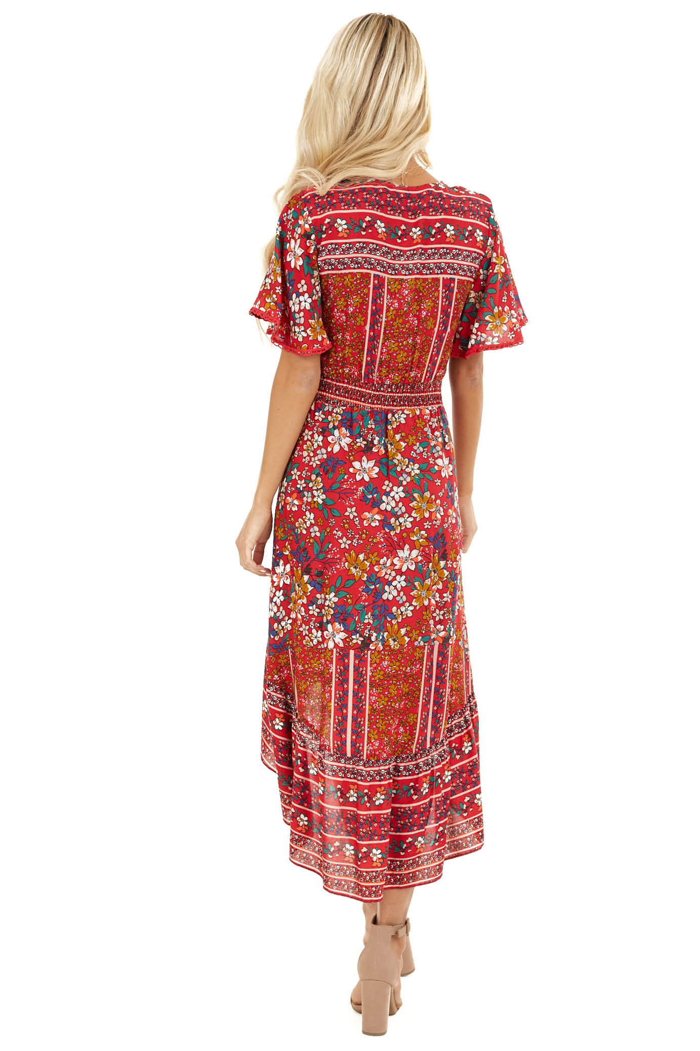 Ruby Red Floral High Low Midi Dress with Button Details back full body