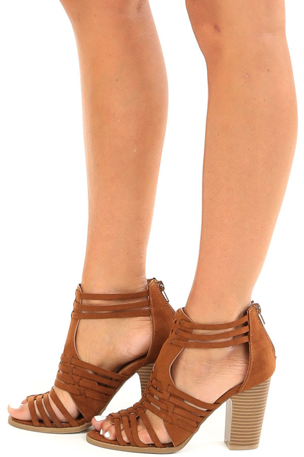 Chestnut Faux Suede Heeled Sandal with Strappy Detail side view