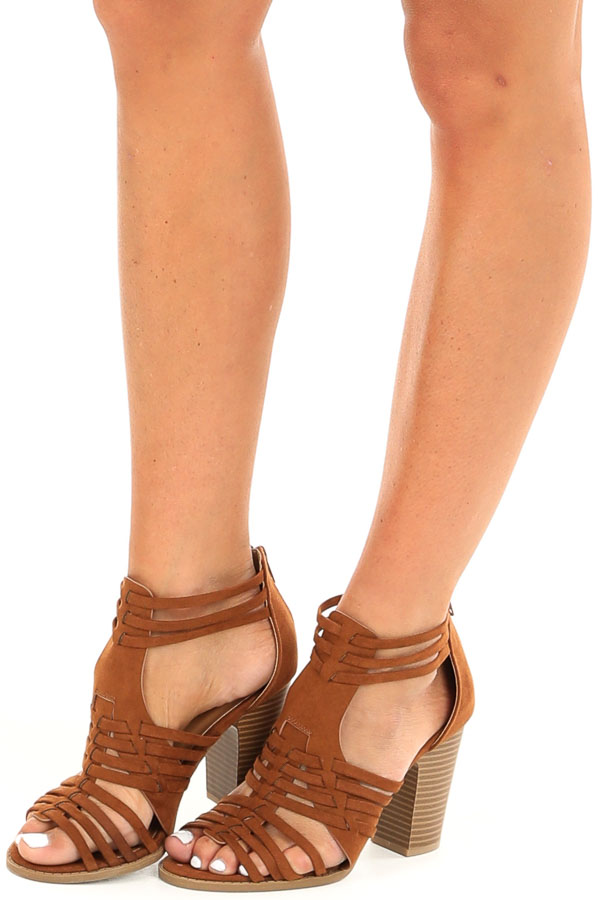 Chestnut Faux Suede Heeled Sandal with Strappy Detail front side view