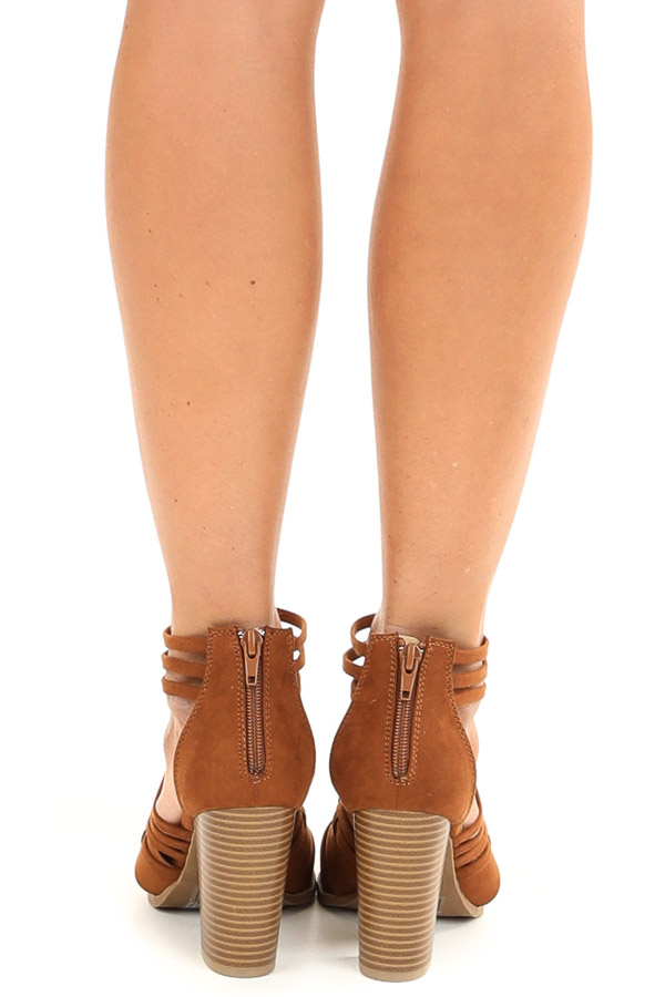 Chestnut Faux Suede Heeled Sandal with Strappy Detail back view
