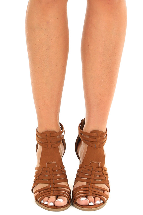 Chestnut Faux Suede Heeled Sandal with Strappy Detail front view