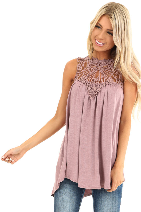 Dusty Mauve Sheer Crochet Lace Loose Fit Top front close up