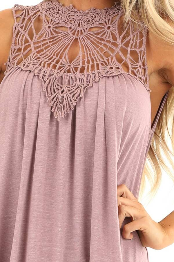 Dusty Mauve Sheer Crochet Lace Loose Fit Top detail