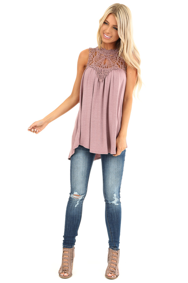 Dusty Mauve Sheer Crochet Lace Loose Fit Top front full body