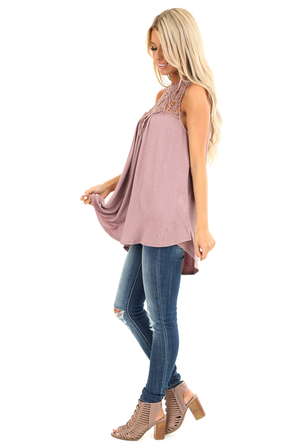 Dusty Mauve Sheer Crochet Lace Loose Fit Top side full body