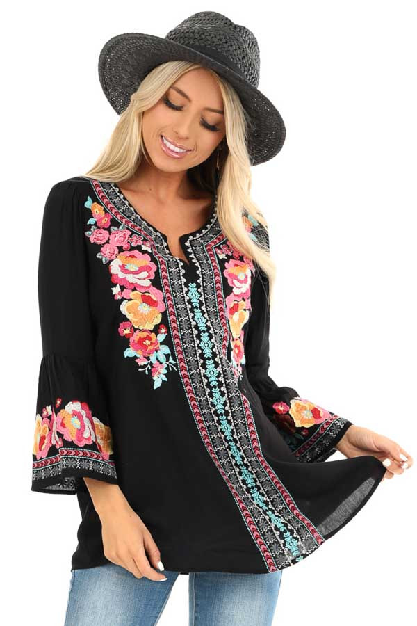 Raven Tunic with Multicolor Embroidery and Bell Sleeves front close up