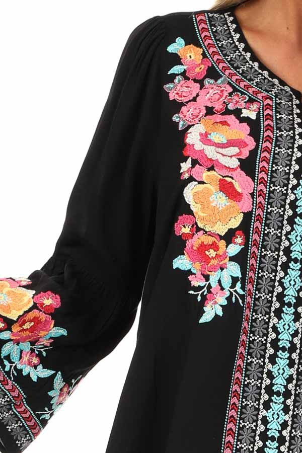 Raven Tunic with Multicolor Embroidery and Bell Sleeves detail