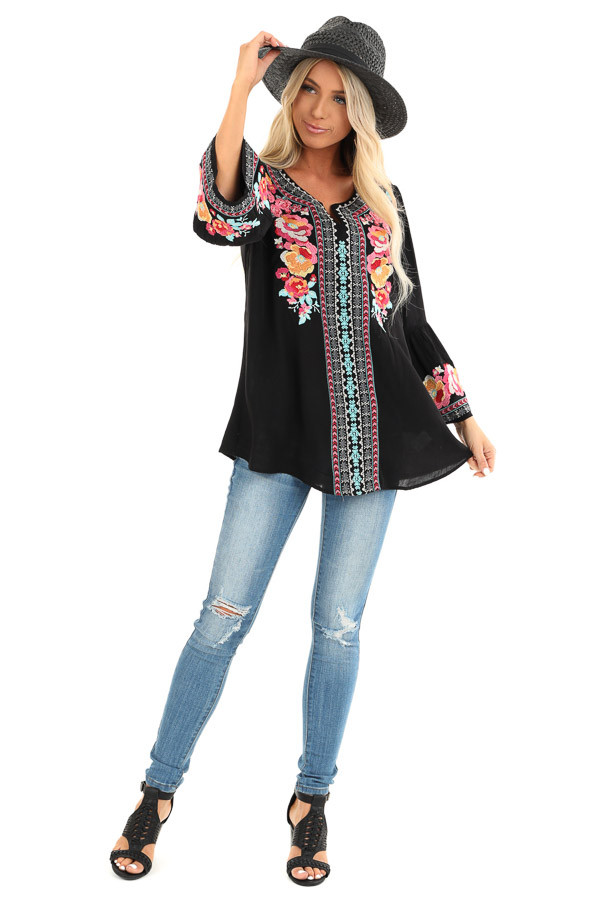 Raven Tunic with Multicolor Embroidery and Bell Sleeves front full body