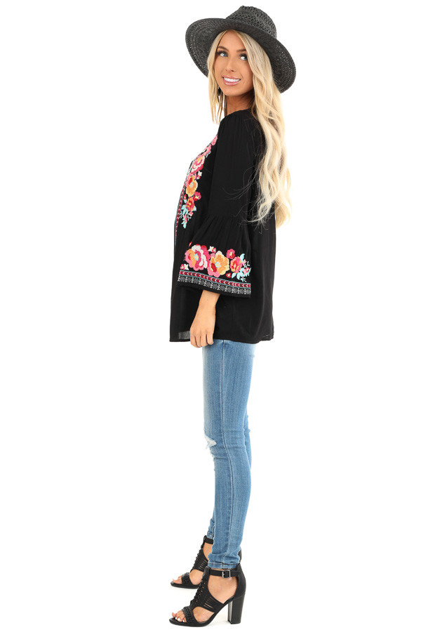 Raven Tunic with Multicolor Embroidery and Bell Sleeves side full body