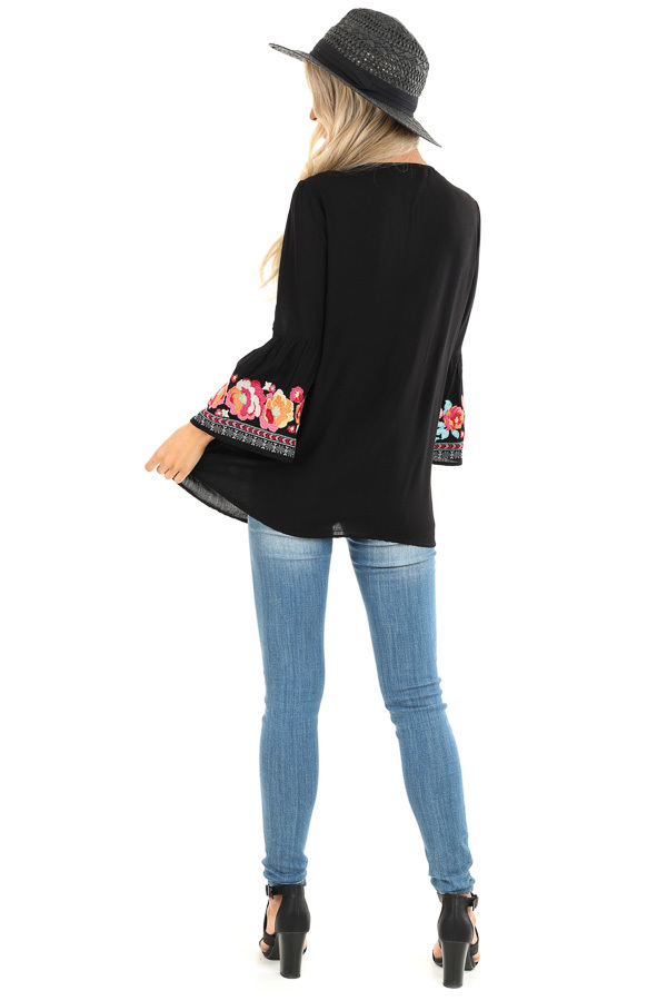 Raven Tunic with Multicolor Embroidery and Bell Sleeves back full body