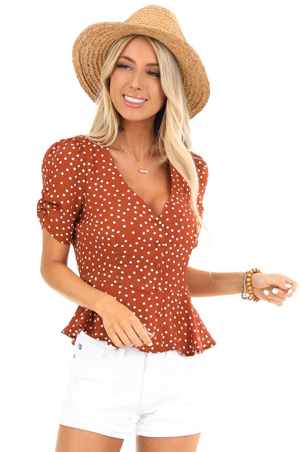 Deep Rust and Ivory Polka Dot Button Up Peplum Blouse front close up