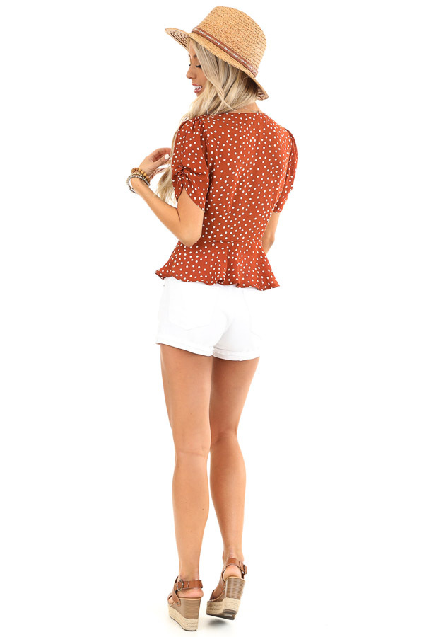 Deep Rust and Ivory Polka Dot Button Up Peplum Blouse back full body