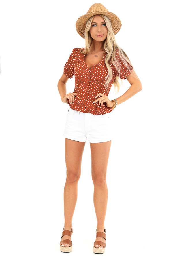Deep Rust and Ivory Polka Dot Button Up Peplum Blouse front full body