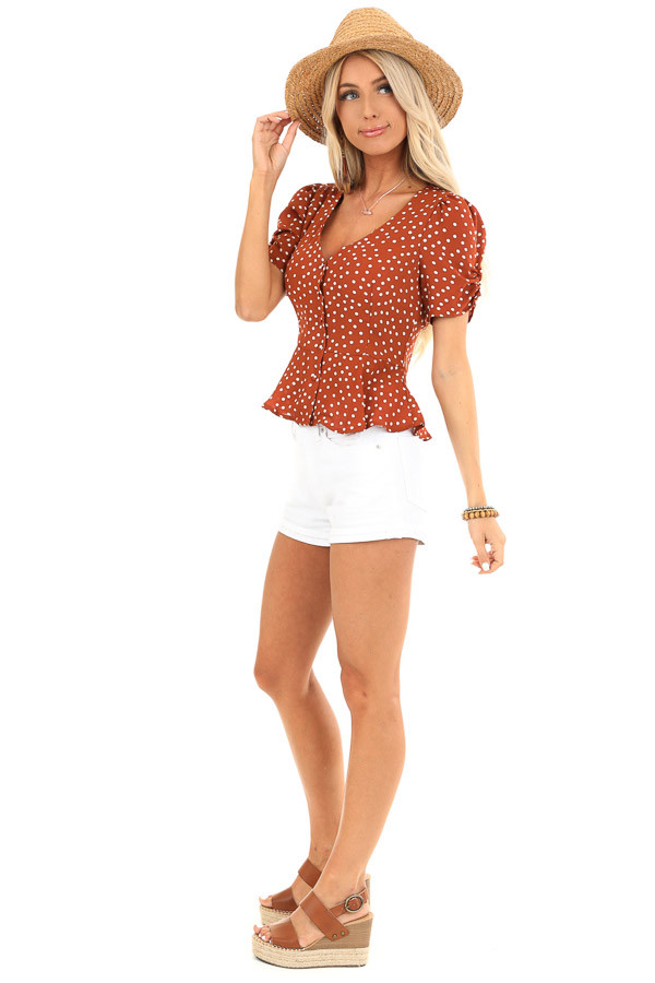 Deep Rust and Ivory Polka Dot Button Up Peplum Blouse side full body